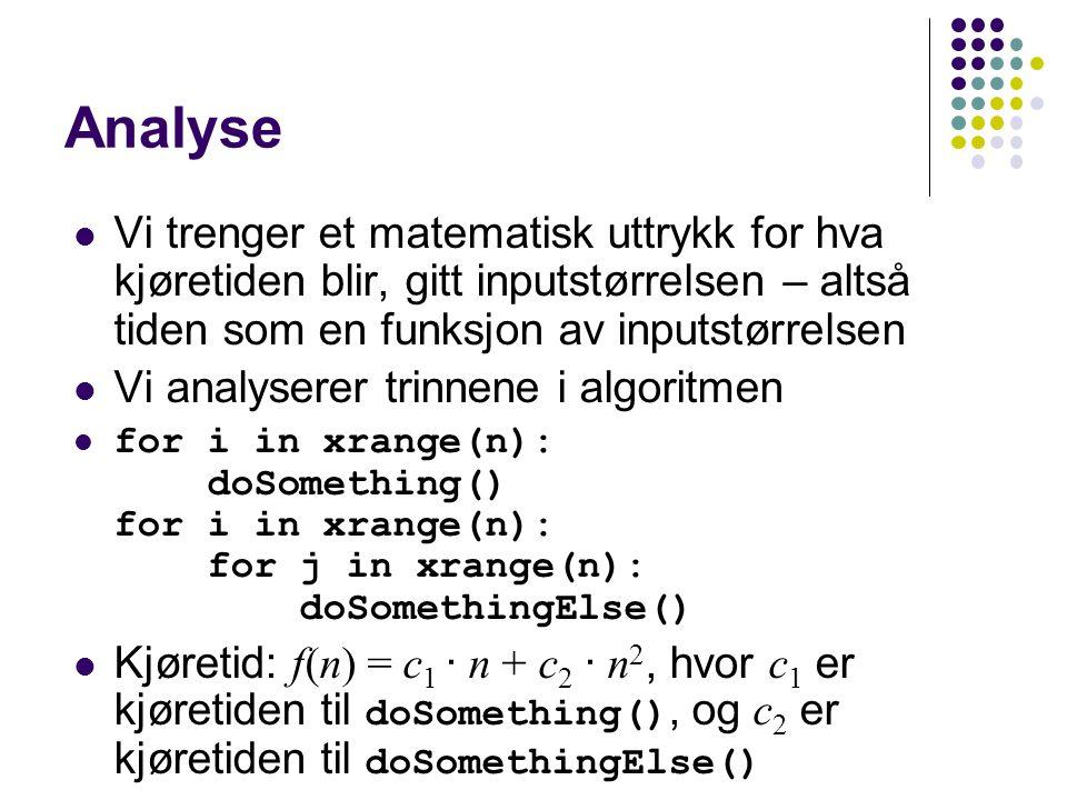 Analyse Vi trenger et matematisk uttrykk for hva kjøretiden blir, gitt inputstørrelsen – altså tiden som en funksjon av inputstørrelsen Vi analyserer