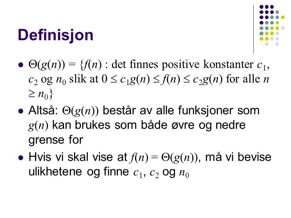 Eksempel – polynomer Gitt f(n) = n 3 – 100n 2 + n Vi trikser med leddene: f(n) = n 3 – 100n 2 + n  n 3 + n  n 3 + n 3 = 2n 3 f(n) = n 3 – 100n 2 + n  n 3 – n 3 / 2 + n  n 3 / 2 Vi finner ut n å r overgangene gjelder: – 100n 2  0 : uansett n  n 3 : for n  1 – 100n 2  – n 3 / 2 : for n  200 n  0 : for n  0 Alts å kan vi sette n 0 = 200 ::