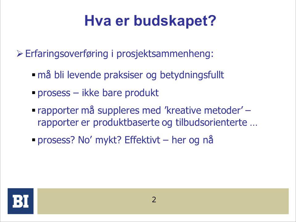 1 Anne Live Vaagaasar, Dr. Førsteamanuensis Prosjektledelse, Handelshøyskolen BI Læring i prosjektpraksis