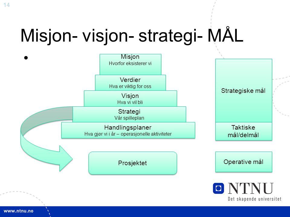 14 Misjon- visjon- strategi- MÅL Misjon Hvorfor eksisterer vi Misjon Hvorfor eksisterer vi Verdier Hva er viktig for oss Verdier Hva er viktig for oss