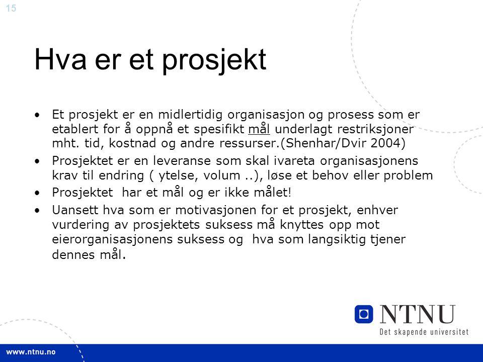 15 Hva er et prosjekt Et prosjekt er en midlertidig organisasjon og prosess som er etablert for å oppnå et spesifikt mål underlagt restriksjoner mht.