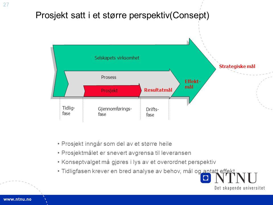 27 Strategiske mål Selskapets virksomhet Gjennomførings- fase Tidlig- fase Drifts- fase Effekt- mål Prosess Prosjekt satt i et større perspektiv(Conse