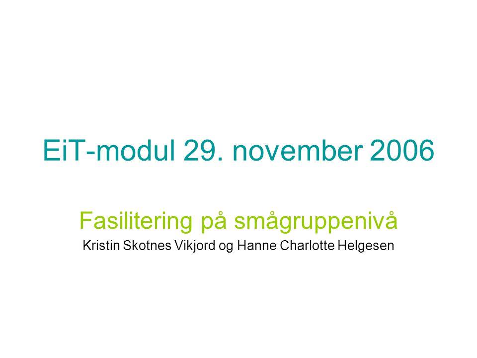 EiT-modul 29. november 2006 Fasilitering på smågruppenivå Kristin Skotnes Vikjord og Hanne Charlotte Helgesen
