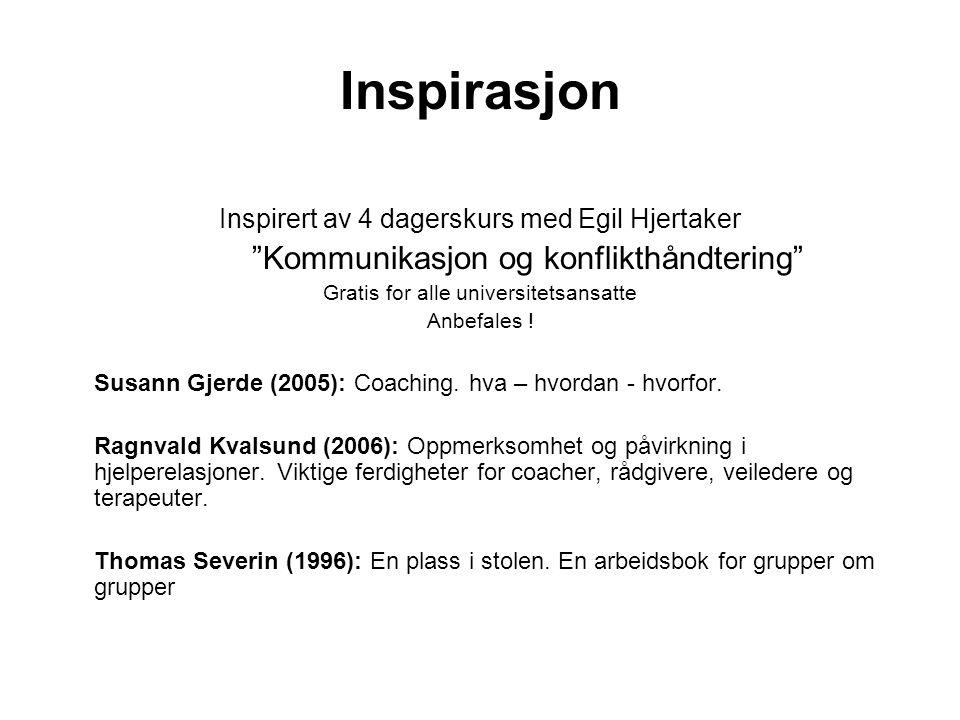 """Inspirasjon Inspirert av 4 dagerskurs med Egil Hjertaker """"Kommunikasjon og konflikthåndtering"""" Gratis for alle universitetsansatte Anbefales ! Susann"""