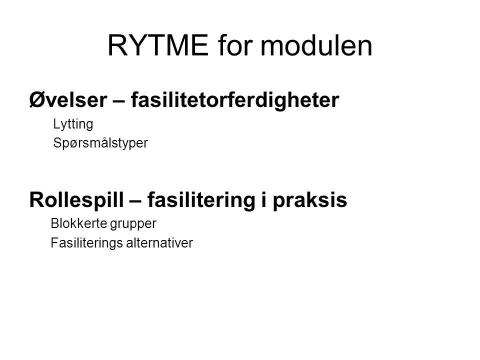 RYTME for modulen Øvelser – fasilitetorferdigheter Lytting Spørsmålstyper Rollespill – fasilitering i praksis Blokkerte grupper Fasiliterings alternat