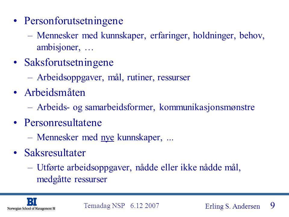 Erling S. Andersen 30 Temadag NSP 6.12 2007 EFQM - modellen