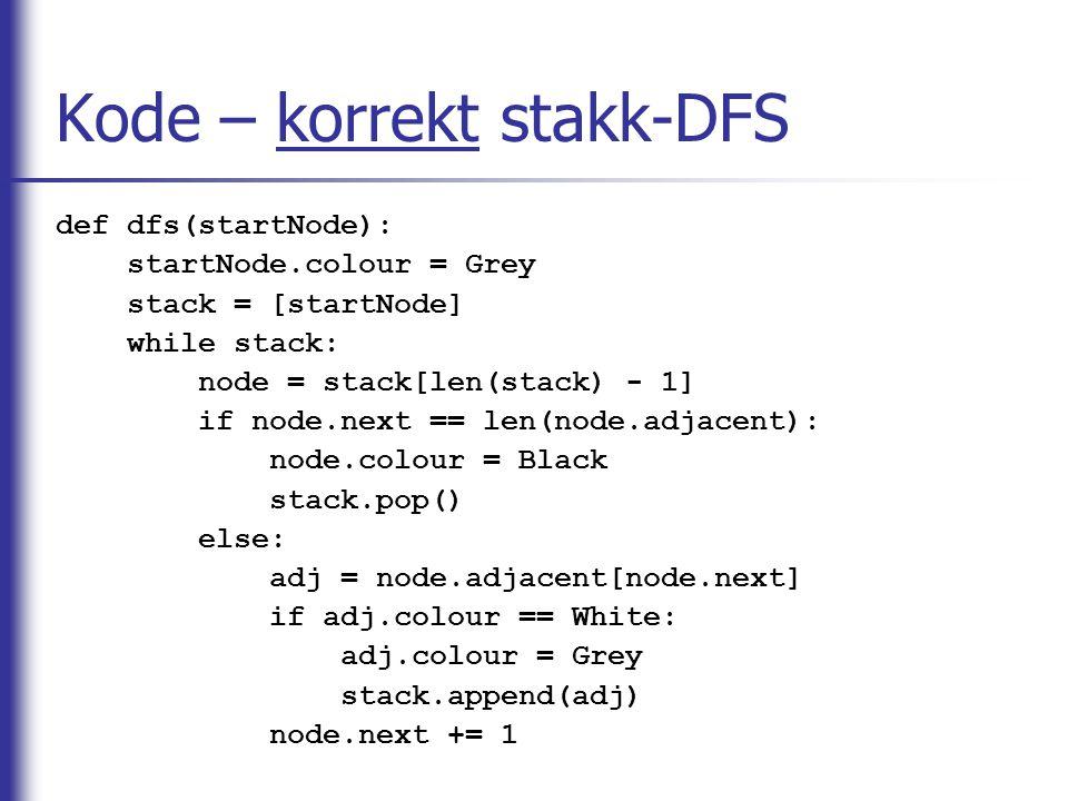 Kode – korrekt stakk-DFS def dfs(startNode): startNode.colour = Grey stack = [startNode] while stack: node = stack[len(stack) - 1] if node.next == len