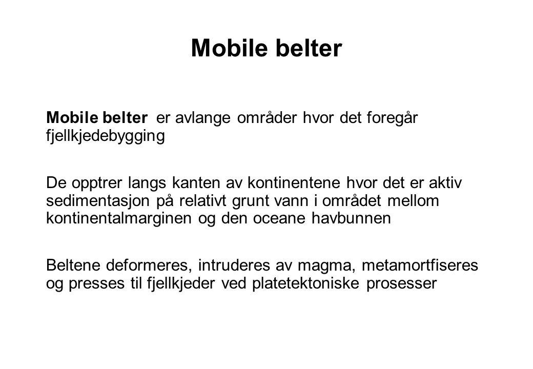 Mobile belter Mobile belter er avlange områder hvor det foregår fjellkjedebygging De opptrer langs kanten av kontinentene hvor det er aktiv sedimentas