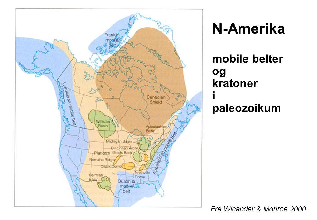 Fra Wicander & Monroe 2000 N-Amerika mobile belter og kratoner i paleozoikum