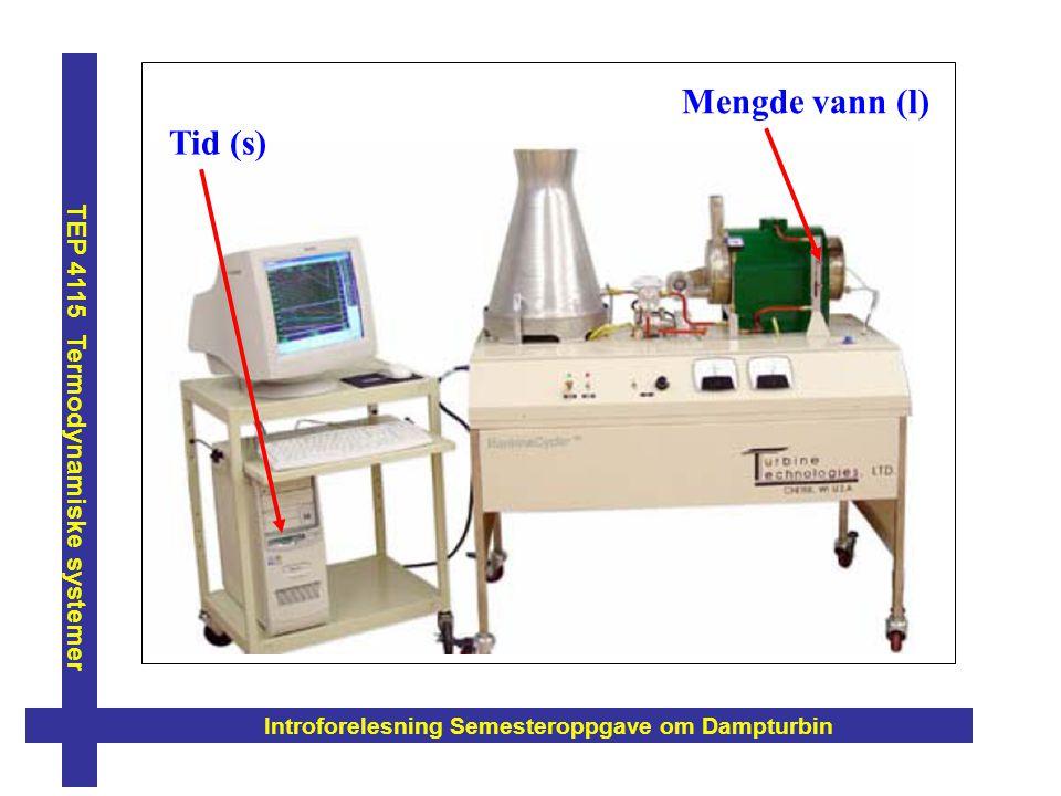 Introforelesning Semesteroppgave om Dampturbin TEP 4115 Termodynamiske systemer Mengde vann (l) Tid (s)