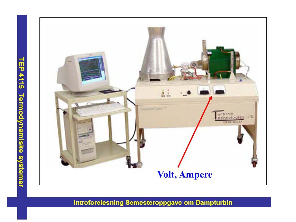 Introforelesning Semesteroppgave om Dampturbin TEP 4115 Termodynamiske systemer Volt, Ampere