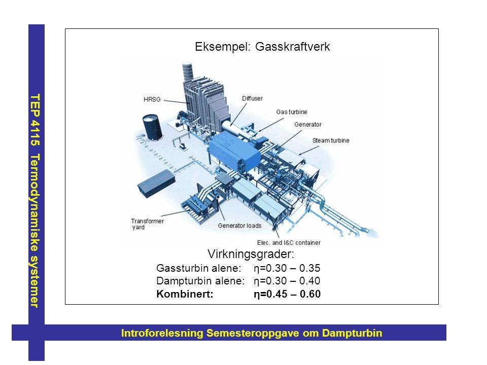 Introforelesning Semesteroppgave om Dampturbin TEP 4115 Termodynamiske systemer Eksempel: Gasskraftverk Virkningsgrader: Gassturbin alene: η=0.30 – 0.