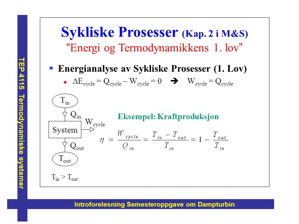 """Sykliske Prosesser (Kap. 2 i M&S) """"Energi og Termodynamikkens 1. lov"""" Introforelesning Semesteroppgave om Dampturbin TEP 4115 Termodynamiske systemer"""