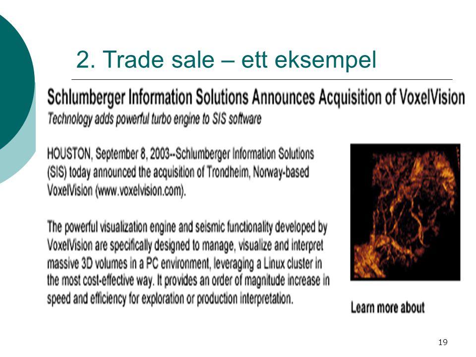 19 2. Trade sale – ett eksempel