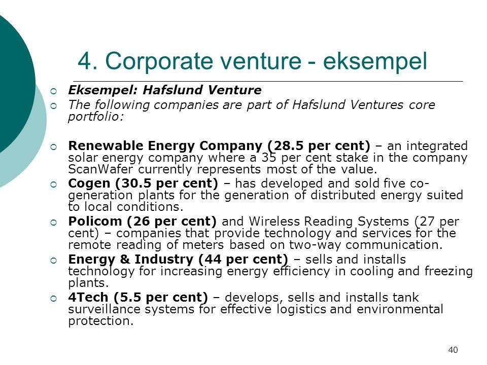 40 4. Corporate venture - eksempel  Eksempel: Hafslund Venture  The following companies are part of Hafslund Ventures core portfolio:  Renewable En