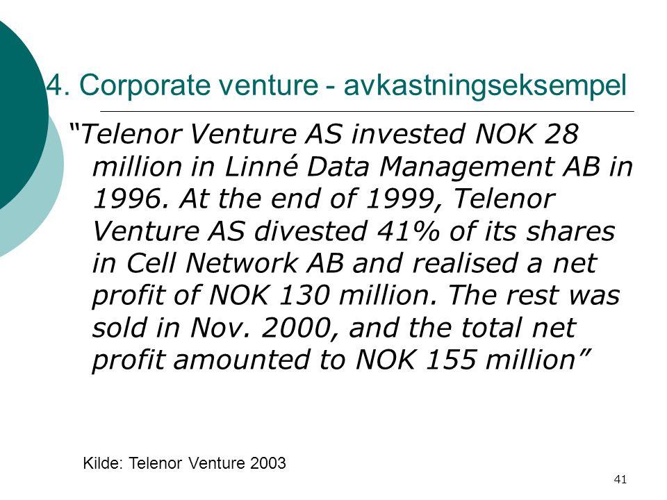 "41 4. Corporate venture - avkastningseksempel ""Telenor Venture AS invested NOK 28 million in Linné Data Management AB in 1996. At the end of 1999, Tel"