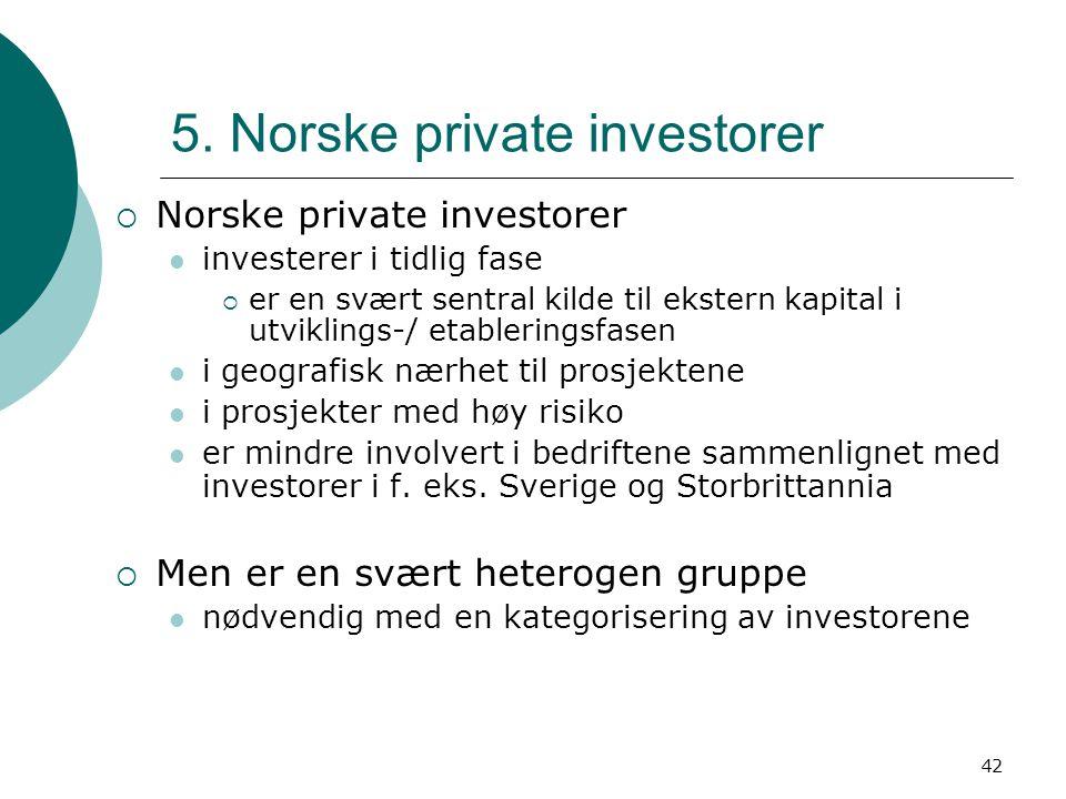 42 5. Norske private investorer  Norske private investorer investerer i tidlig fase  er en svært sentral kilde til ekstern kapital i utviklings-/ et