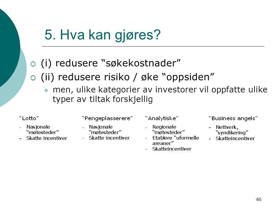 """46 5. Hva kan gjøres?  (i) redusere """"søkekostnader""""  (ii) redusere risiko / øke """"oppsiden"""" men, ulike kategorier av investorer vil oppfatte ulike ty"""