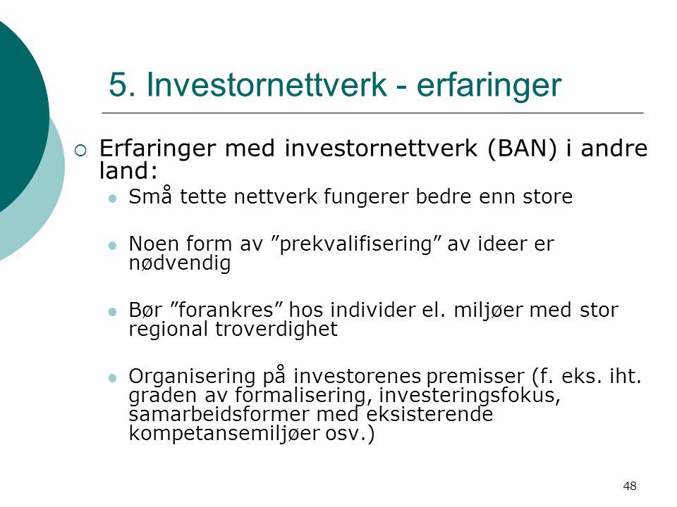 """48 5. Investornettverk - erfaringer  Erfaringer med investornettverk (BAN) i andre land: Små tette nettverk fungerer bedre enn store Noen form av """"pr"""