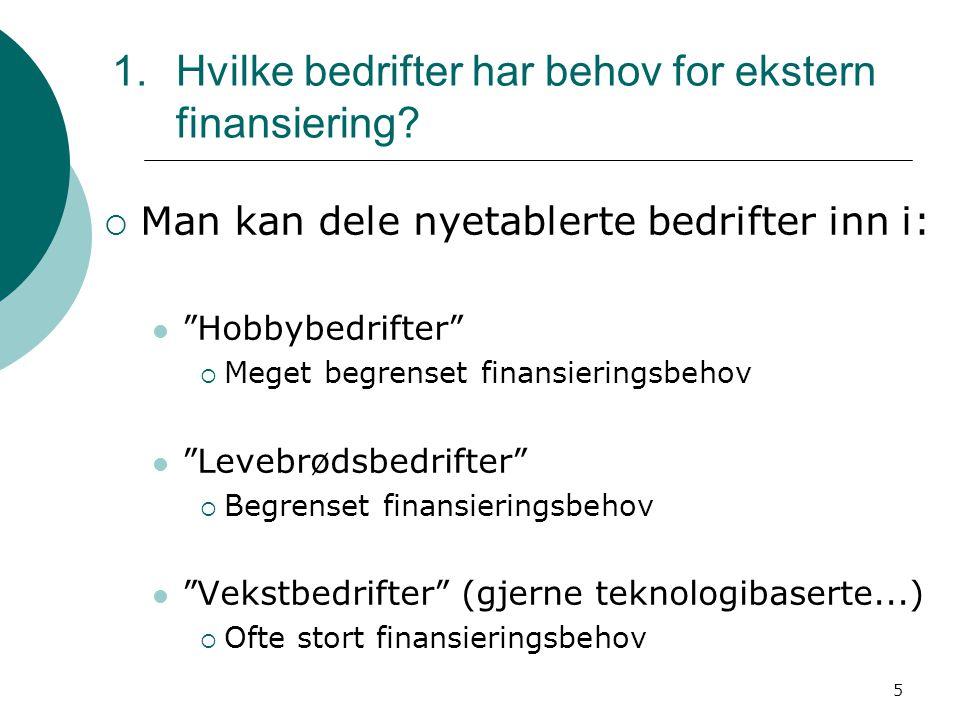 """5 1.Hvilke bedrifter har behov for ekstern finansiering?  Man kan dele nyetablerte bedrifter inn i: """"Hobbybedrifter""""  Meget begrenset finansieringsb"""