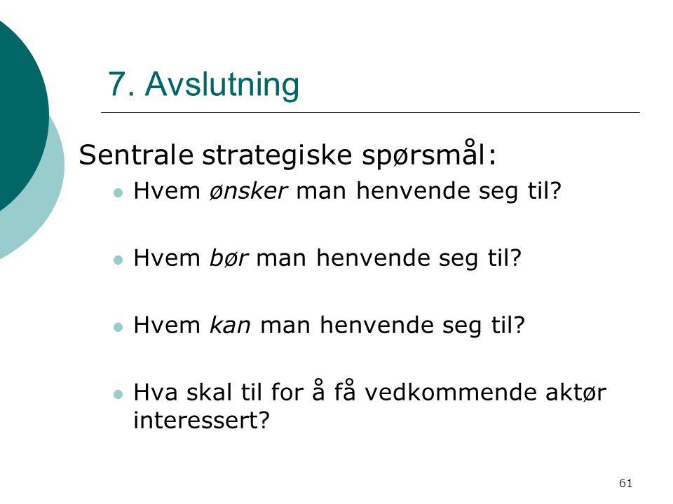61 7. Avslutning Sentrale strategiske spørsmål: Hvem ønsker man henvende seg til? Hvem bør man henvende seg til? Hvem kan man henvende seg til? Hva sk