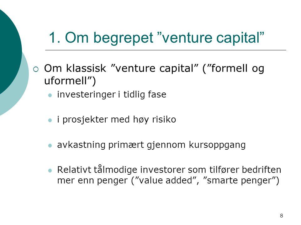 """8 1. Om begrepet """"venture capital""""  Om klassisk """"venture capital"""" (""""formell og uformell"""") investeringer i tidlig fase i prosjekter med høy risiko avk"""