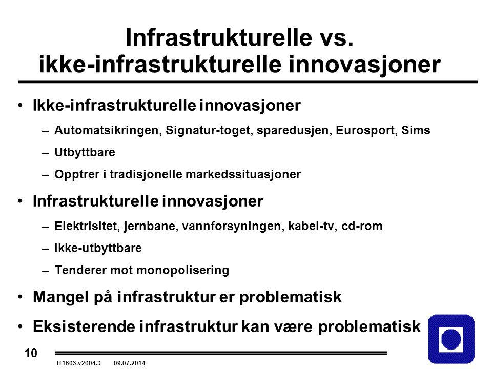 10 IT1603.v2004.3 09.07.2014 Infrastrukturelle vs. ikke-infrastrukturelle innovasjoner Ikke-infrastrukturelle innovasjoner –Automatsikringen, Signatur