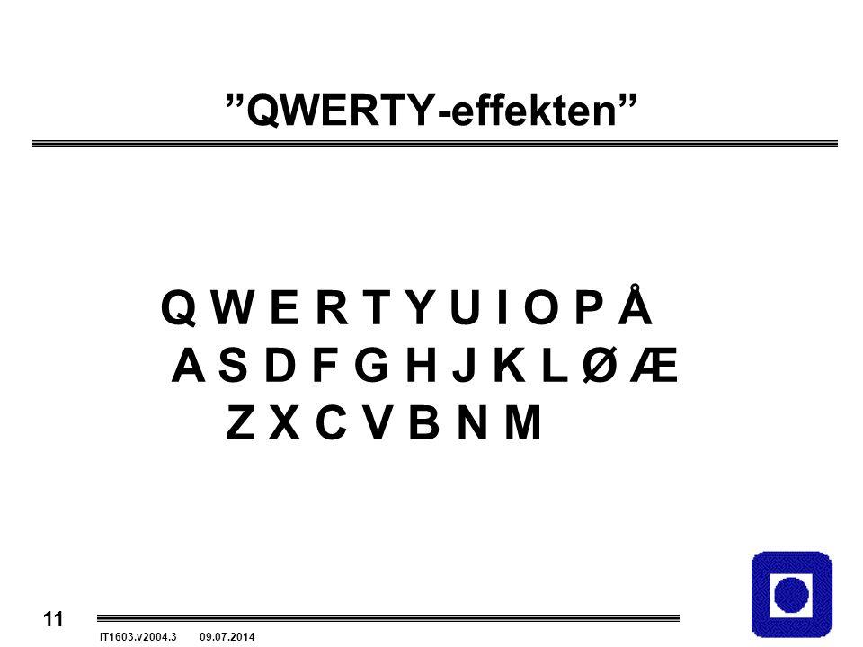 "11 IT1603.v2004.3 09.07.2014 ""QWERTY-effekten"" Q W E R T Y U I O P Å A S D F G H J K L Ø Æ Z X C V B N M"