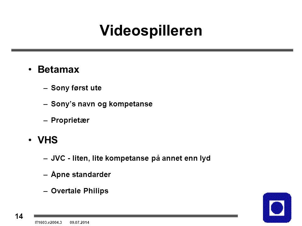 14 IT1603.v2004.3 09.07.2014 Videospilleren Betamax –Sony først ute –Sony's navn og kompetanse –Proprietær VHS –JVC - liten, lite kompetanse på annet