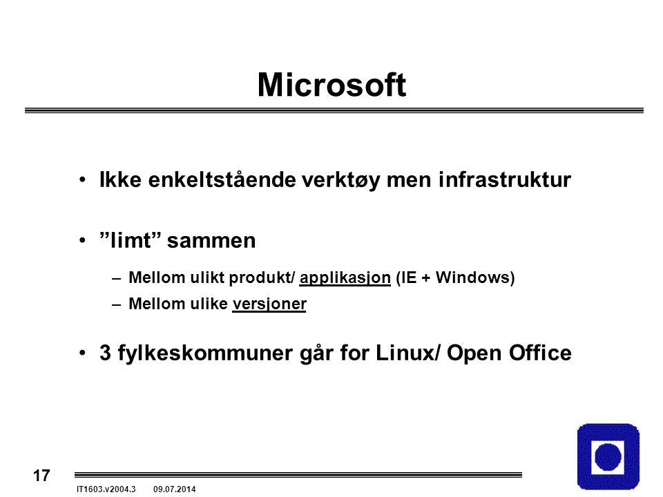 """17 IT1603.v2004.3 09.07.2014 Microsoft Ikke enkeltstående verktøy men infrastruktur """"limt"""" sammen –Mellom ulikt produkt/ applikasjon (IE + Windows) –M"""