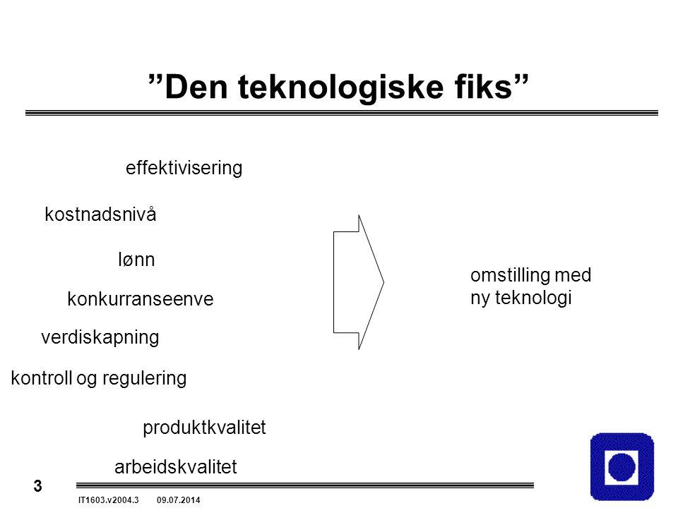 """3 IT1603.v2004.3 09.07.2014 """"Den teknologiske fiks"""" kostnadsnivå lønn konkurranseenve kontroll og regulering produktkvalitet omstilling med ny teknolo"""
