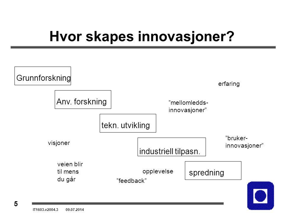 """5 IT1603.v2004.3 09.07.2014 Hvor skapes innovasjoner? Grunnforskning Anv. forskning tekn. utvikling industriell tilpasn. spredning """"bruker- innovasjon"""