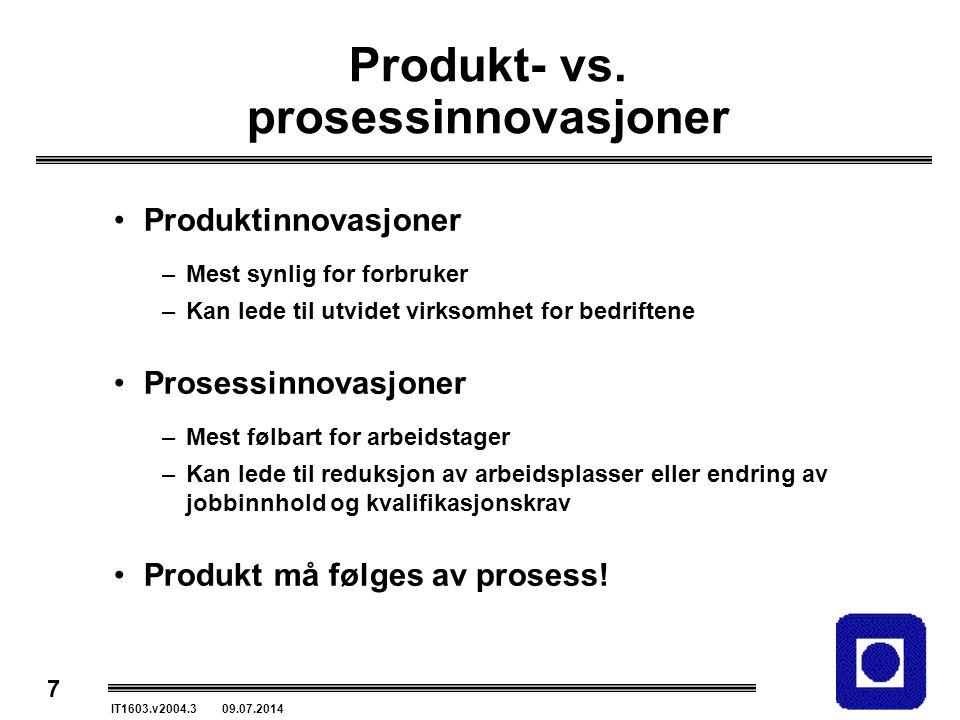 7 IT1603.v2004.3 09.07.2014 Produkt- vs. prosessinnovasjoner Produktinnovasjoner –Mest synlig for forbruker –Kan lede til utvidet virksomhet for bedri