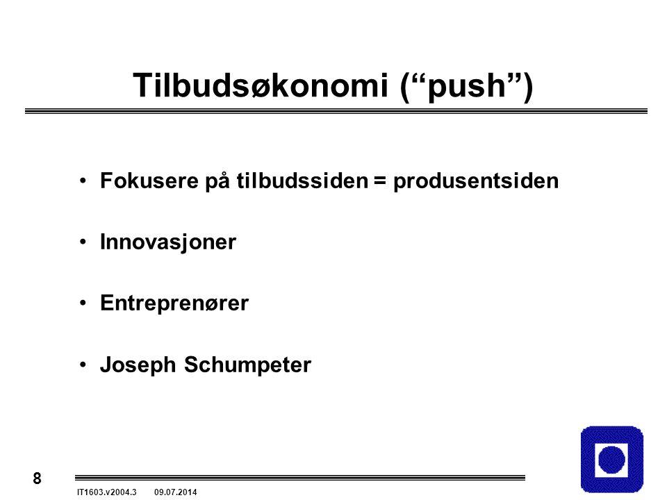 """8 IT1603.v2004.3 09.07.2014 Tilbudsøkonomi (""""push"""") Fokusere på tilbudssiden = produsentsiden Innovasjoner Entreprenører Joseph Schumpeter"""