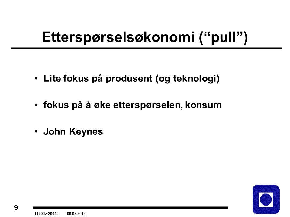 """9 IT1603.v2004.3 09.07.2014 Etterspørselsøkonomi (""""pull"""") Lite fokus på produsent (og teknologi) fokus på å øke etterspørselen, konsum John Keynes"""