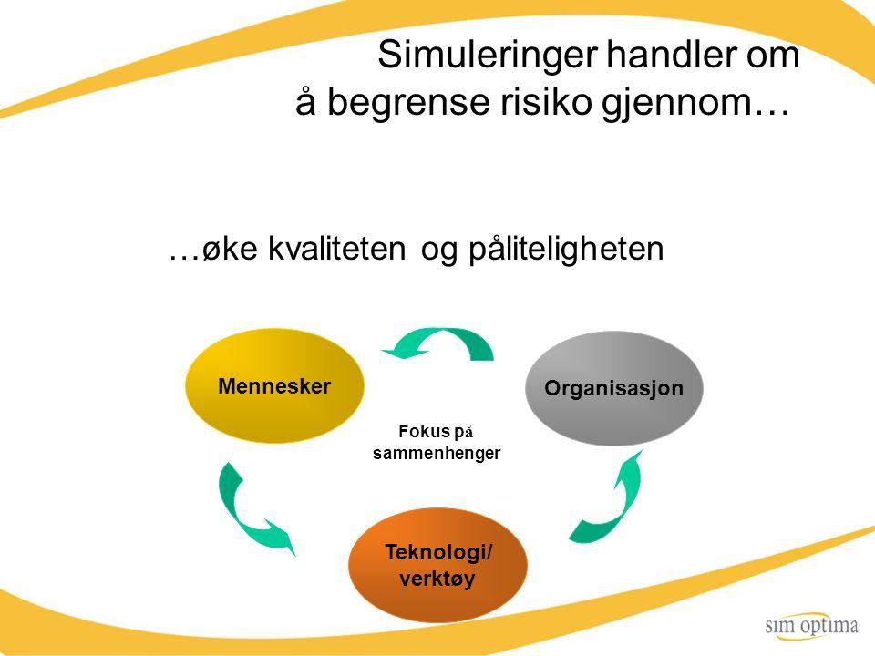 Simuleringer handler om å begrense risiko gjennom… …øke kvaliteten og påliteligheten Organisasjon Teknologi/ verktøy Mennesker Fokus p å sammenhenger