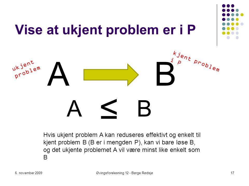 Vise at ukjent problem er i P A 6. november 2009Øvingsforelesning 12 - Børge Rødsjø17 B ≤ Hvis ukjent problem A kan reduseres effektivt og enkelt til