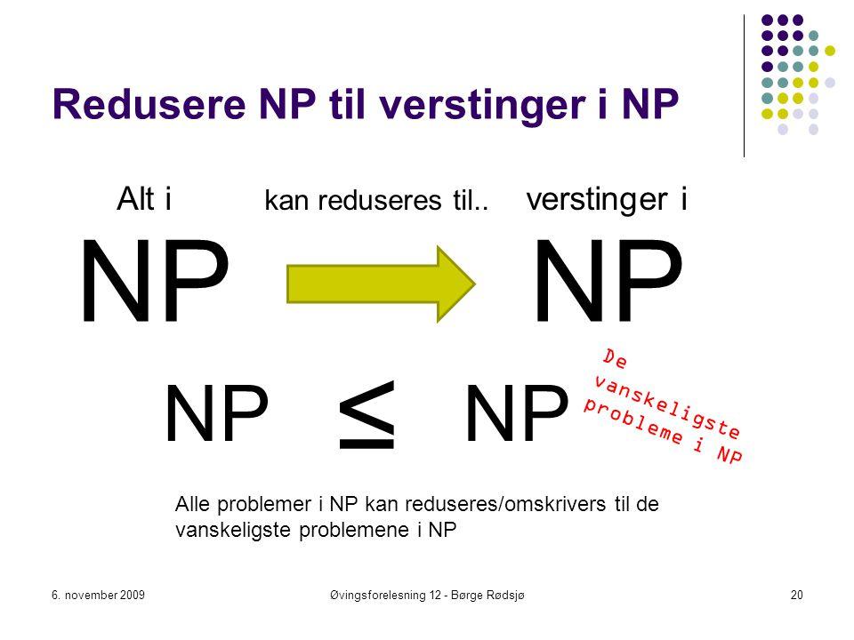 Redusere NP til verstinger i NP NP 6. november 2009Øvingsforelesning 12 - Børge Rødsjø20 NP ≤ Alle problemer i NP kan reduseres/omskrivers til de vans