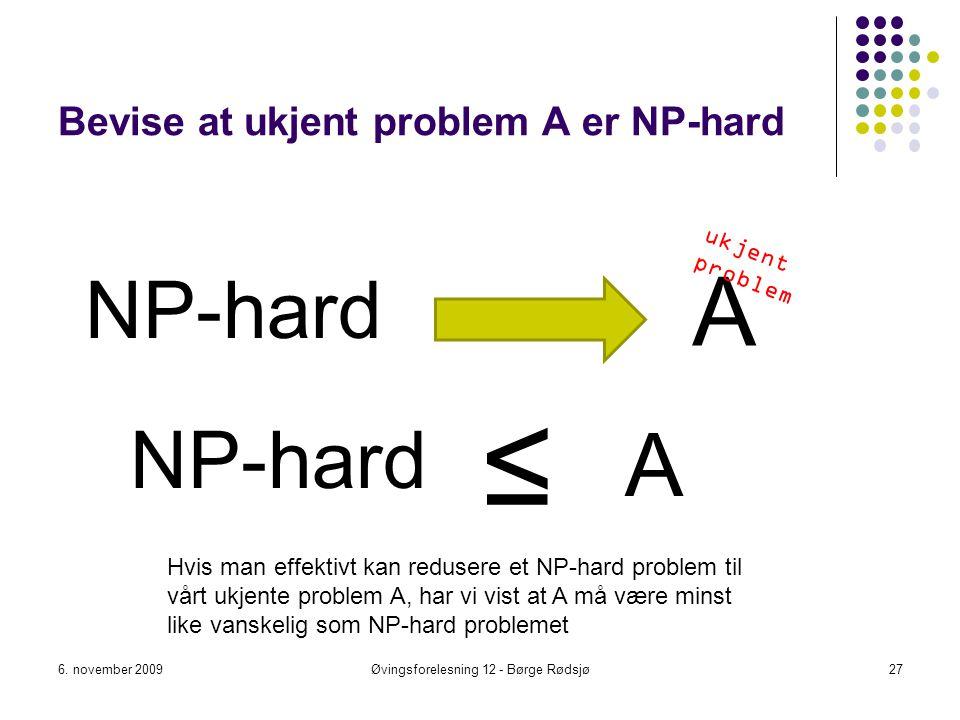 Bevise at ukjent problem A er NP-hard NP-hard 6. november 2009Øvingsforelesning 12 - Børge Rødsjø27 A ≤ NP-hard A Hvis man effektivt kan redusere et N