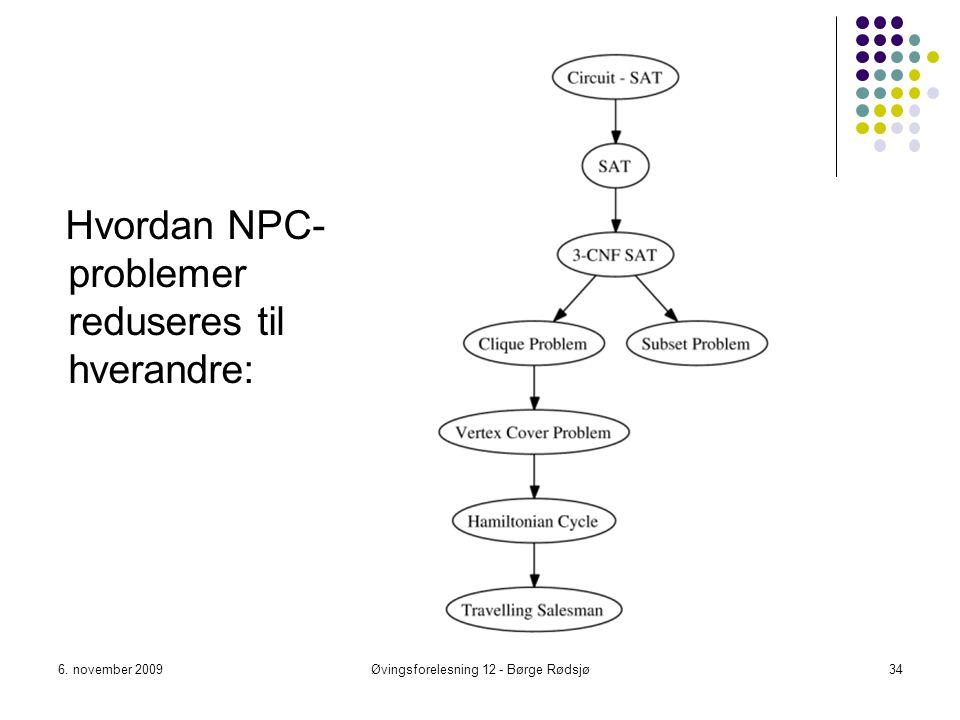 6. november 2009Øvingsforelesning 12 - Børge Rødsjø34 Hvordan NPC- problemer reduseres til hverandre: