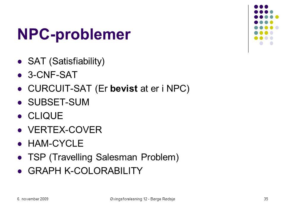 NPC-problemer SAT (Satisfiability) 3-CNF-SAT CURCUIT-SAT (Er bevist at er i NPC) SUBSET-SUM CLIQUE VERTEX-COVER HAM-CYCLE TSP (Travelling Salesman Pro