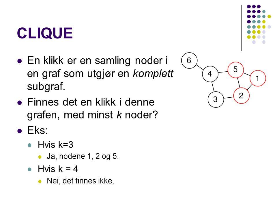 CLIQUE En klikk er en samling noder i en graf som utgjør en komplett subgraf. Finnes det en klikk i denne grafen, med minst k noder? Eks: Hvis k=3 Ja,