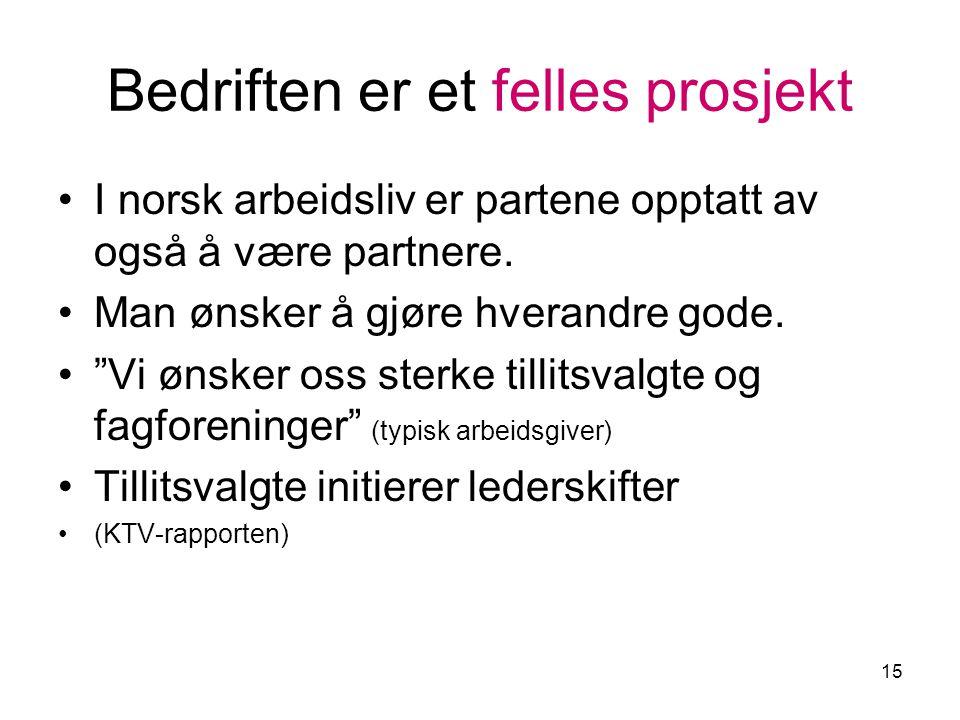 15 Bedriften er et felles prosjekt I norsk arbeidsliv er partene opptatt av også å være partnere.