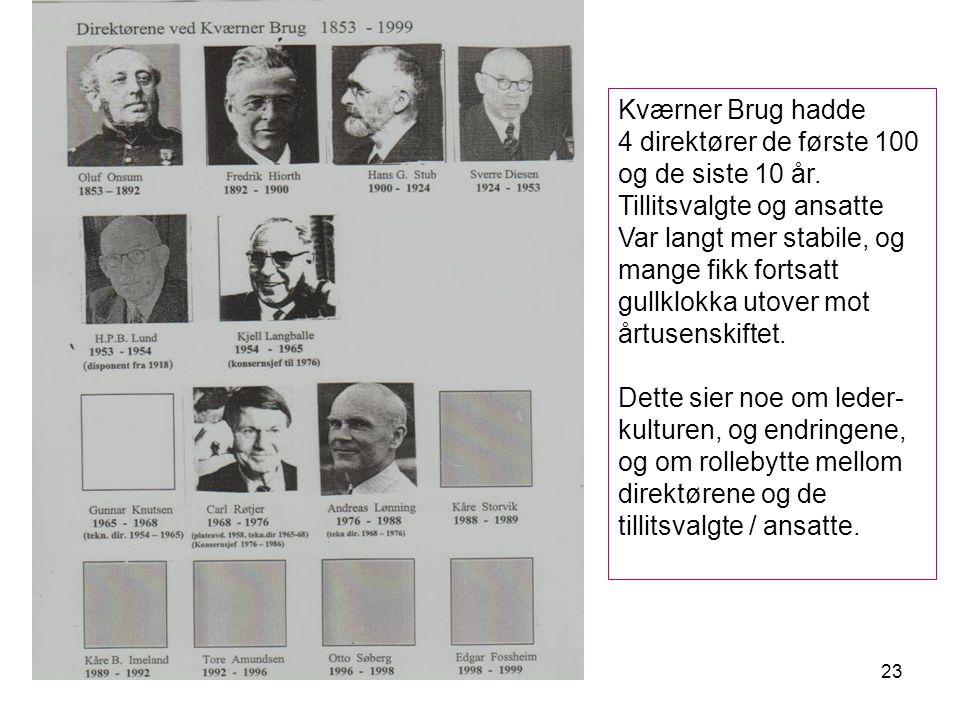 23 Kværner Brug hadde 4 direktører de første 100 og de siste 10 år.