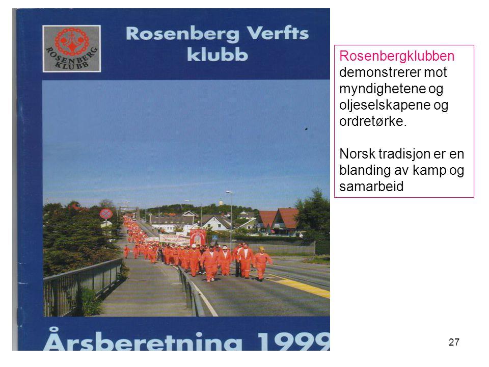 27 Rosenbergklubben demonstrerer mot myndighetene og oljeselskapene og ordretørke.