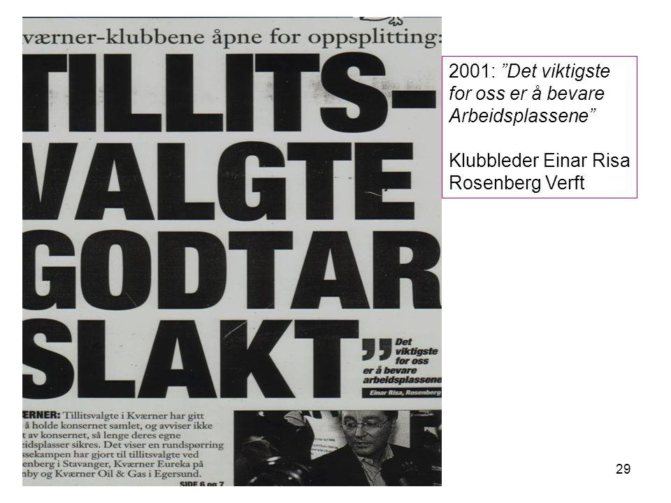 29 2001: Det viktigste for oss er å bevare Arbeidsplassene Klubbleder Einar Risa Rosenberg Verft