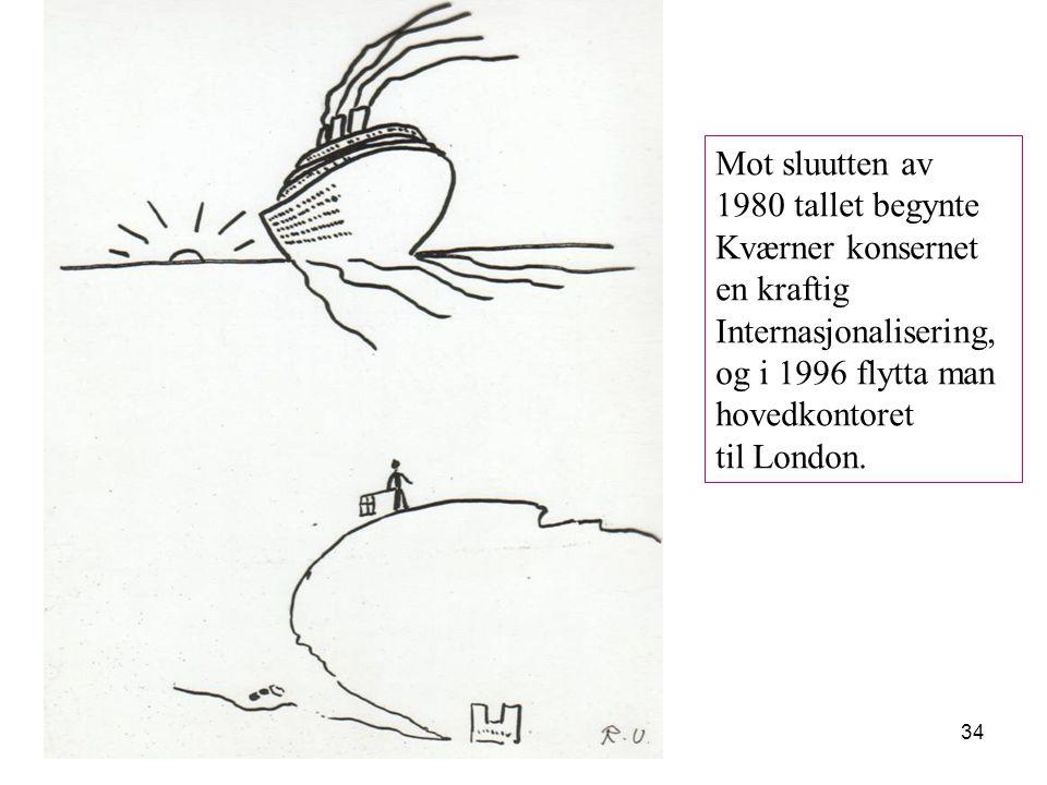 34 Mot sluutten av 1980 tallet begynte Kværner konsernet en kraftig Internasjonalisering, og i 1996 flytta man hovedkontoret til London.