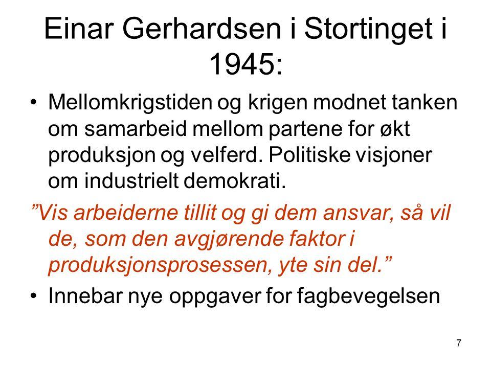 7 Einar Gerhardsen i Stortinget i 1945: Mellomkrigstiden og krigen modnet tanken om samarbeid mellom partene for økt produksjon og velferd.