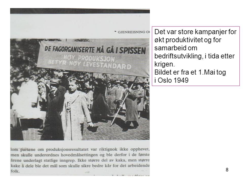 8 Det var store kampanjer for økt produktivitet og for samarbeid om bedriftsutvikling, i tida etter krigen.
