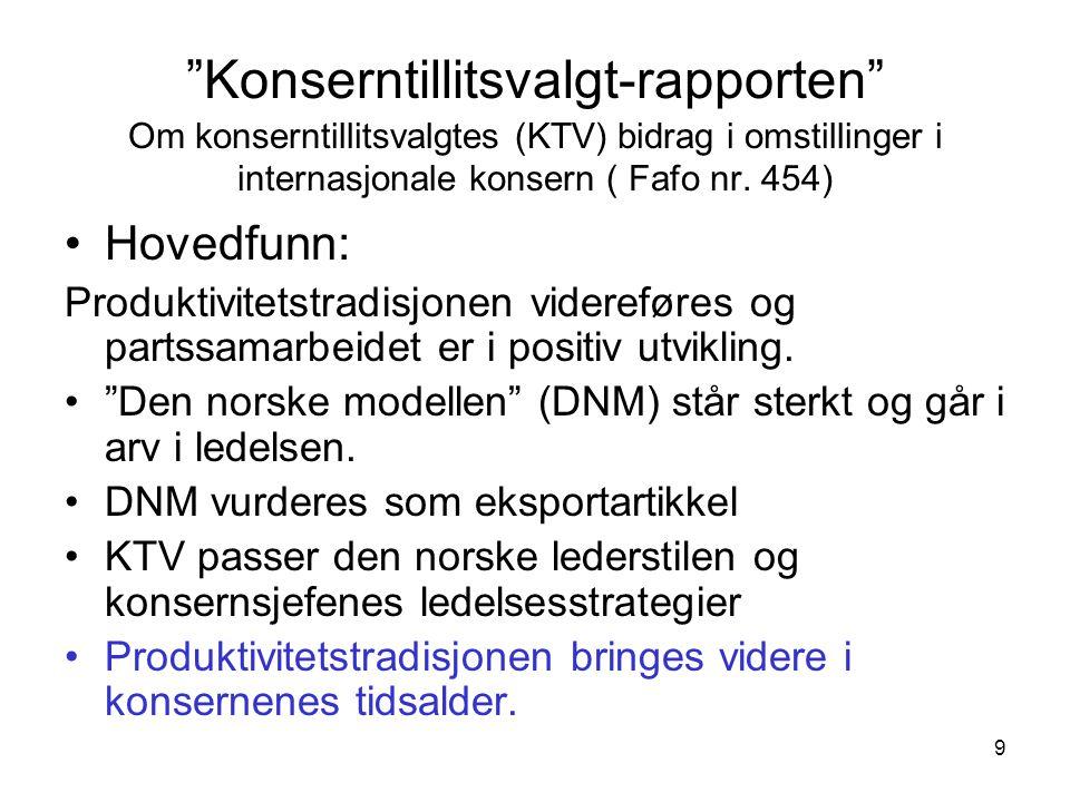 9 Konserntillitsvalgt-rapporten Om konserntillitsvalgtes (KTV) bidrag i omstillinger i internasjonale konsern ( Fafo nr.